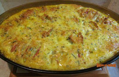 Gratin de pommes de terre, courgettes et tomates
