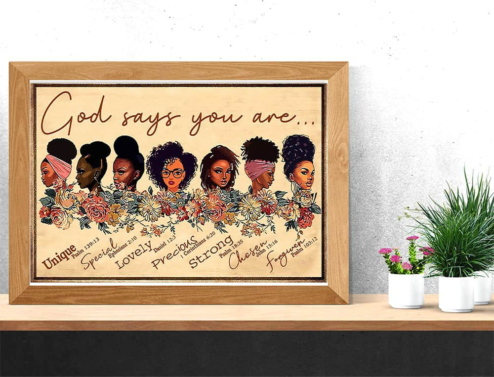 Afro Girl God says you are unique special lovely precious strong chosen forgiven horizontal poster, canvas