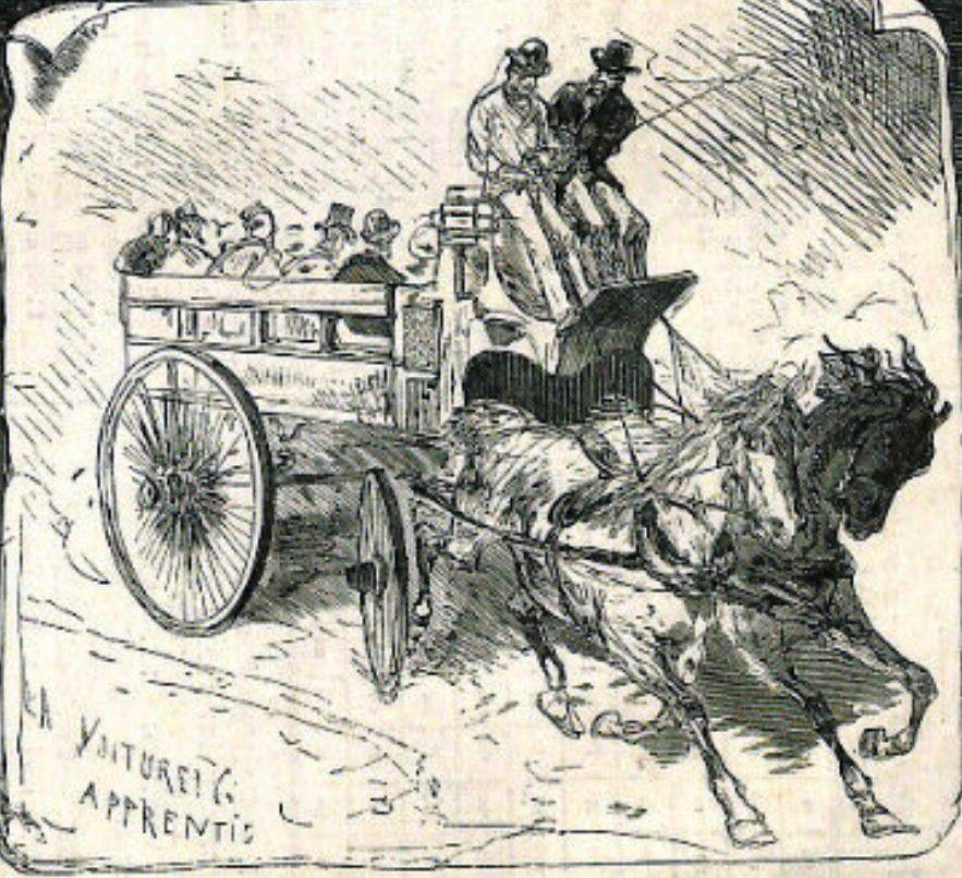 Entraînement des apprentis cochers sur le break d'écurie (illustration Novembre 1877)