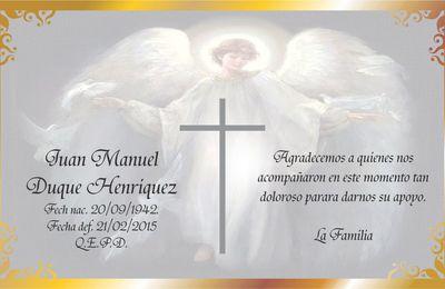 Postal Ángel y Cruz para Juan Duque / Tarjetas de Agradecimiento de Condolencia
