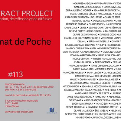 Rendez vous à l'exposition collective  « Format de poche »  du 16 décembre 2020 au 9 janvier 2021  à la galerie Abstract Project , Paris