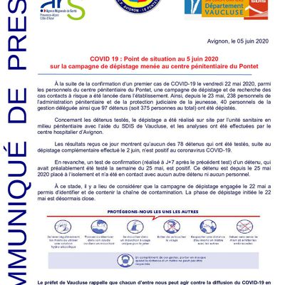 Covid 19 - Situation campagne dépistage centre pénitentiaire du Pontet
