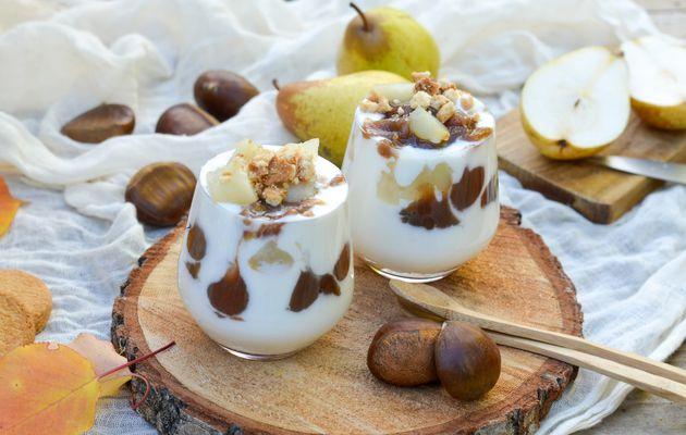 Verrines d'automne : poires, crème de marron et fromage blanc