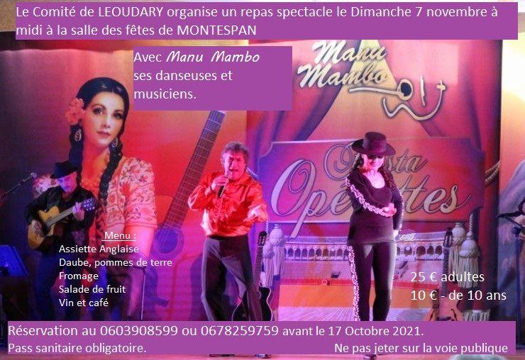 Montespan - Repas spectacle le 7 novembre - Inscrivez-vous!