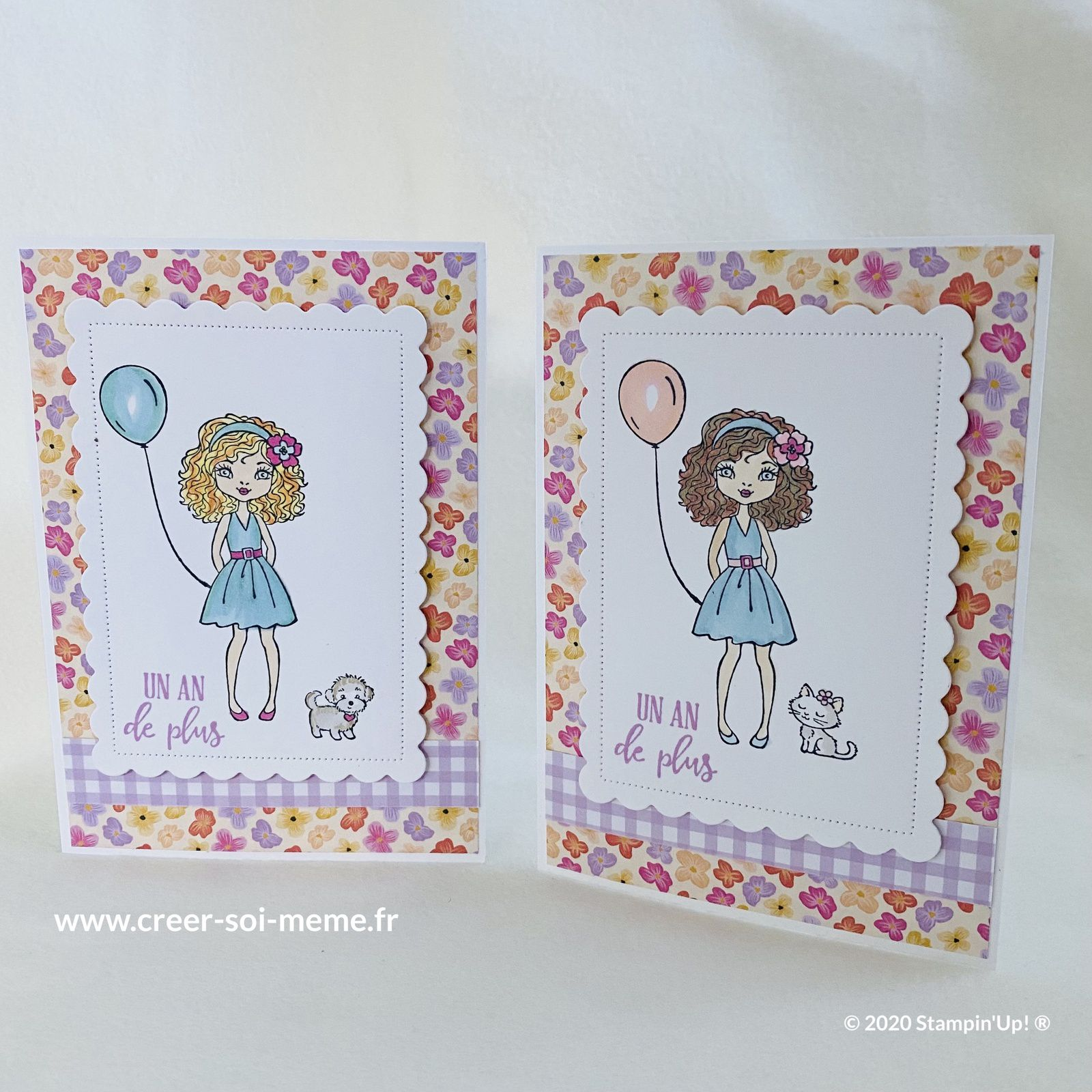 carte anniversaire fille stampin up chat chien