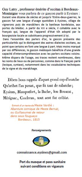 Conférence de Guy Latry « Le gascon parlé  à Eysines »Samedi 2 octobre 2021 à 15h