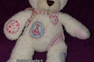 Doudou ours Histoire d'ours, Peace and Love, blanc rose, www.doudoupeluche.fr