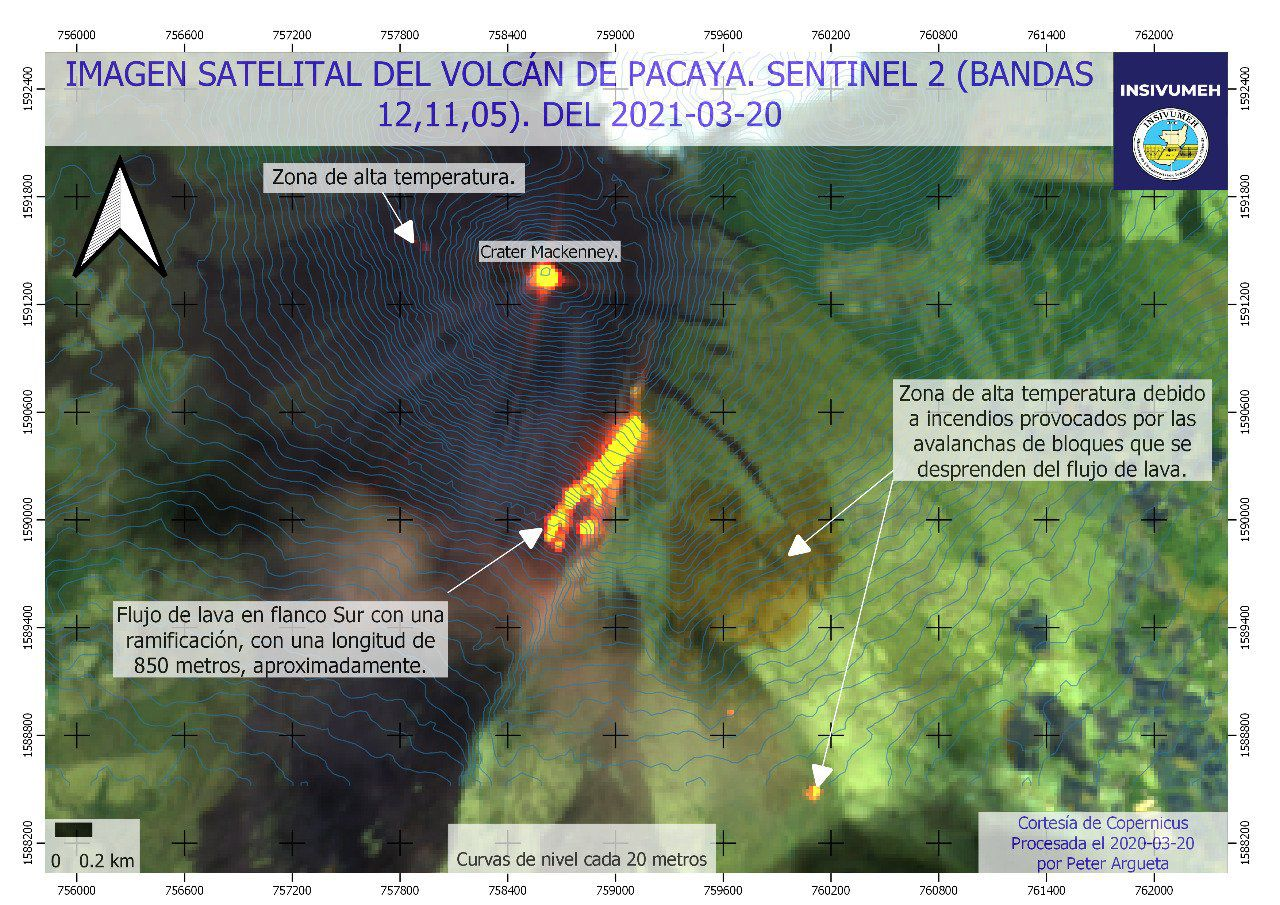 Pacaya - activity of 20.03.2021 - image Sentinel-2 bands 12.11.5 - Doc. Insivumeh