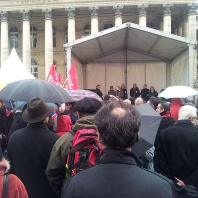 Le 03 décembre, rassemblement contre l'austérité, Place de la Bourse à Paris