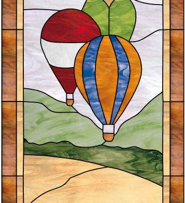 """Modèle pour vitrail  """" Ballons dirigeables """""""