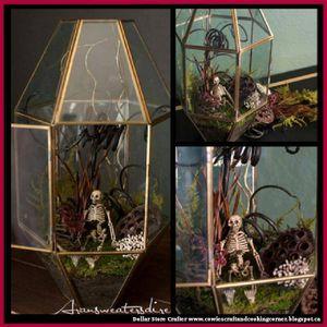 Turn An Old Glass Light Fixture Into A Halloween Terrarium
