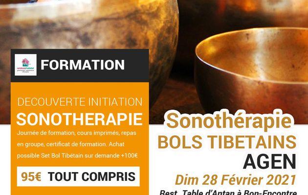 """AGEN- Formation Sonotherapie """"BOLS TIBETAINS, utilisation CORPS et CHAKRAS"""" Dimanche 28 Février 2021"""