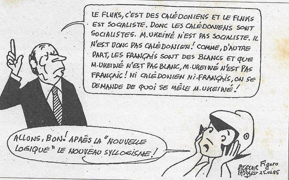 1) loyalistes. 2) récessionistes. 3) Le sophiste François Mitterrand se moque du loyaliste Dick Ukeiwé.