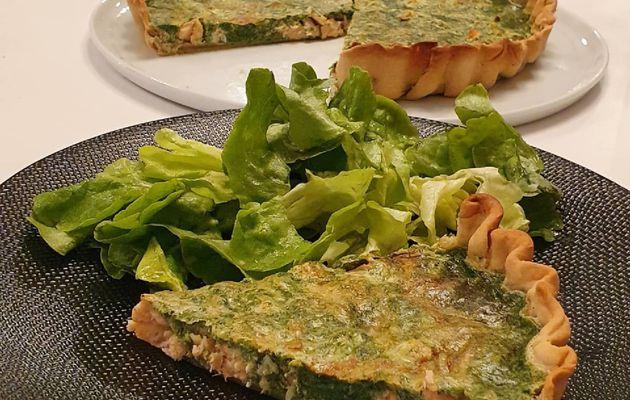 Tarte épinards-saumon pâte légère
