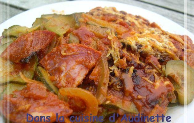 Fausses lasagnes de courgettes au chorizo