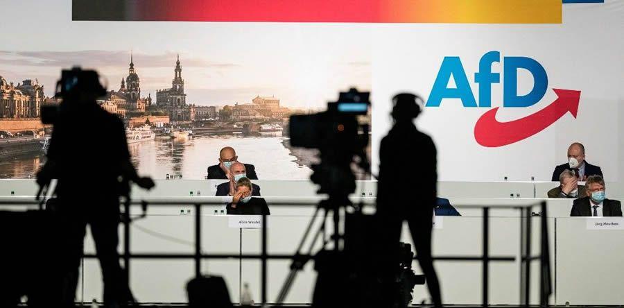 Une réunion de l'AfD, à Dresde, le 11 avril 2021. | Jens Schlueter / AFP