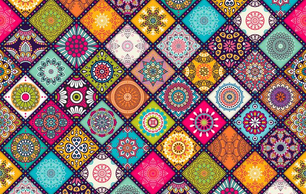 Backgrounds -  patterns - textures with mandalas - tils moroccan
