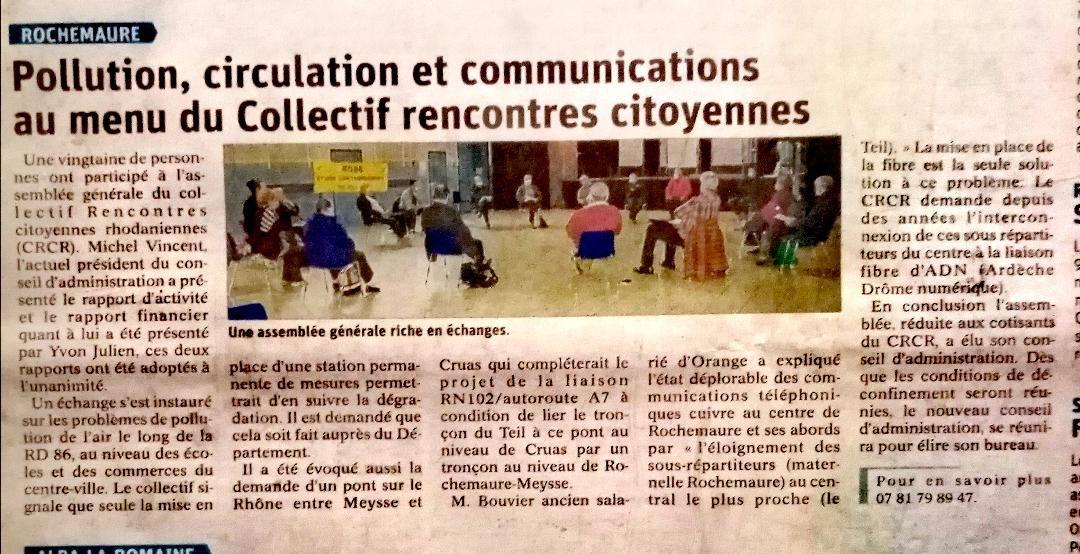 Assemblée Citoyenne AG 2020 compte rendu Dauphiné Libéré 16 decembre