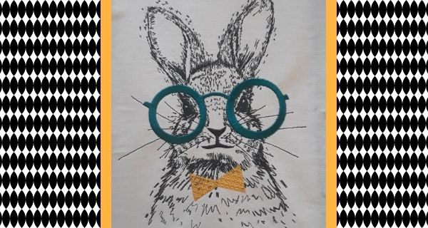Broderie Lapin à lunettes