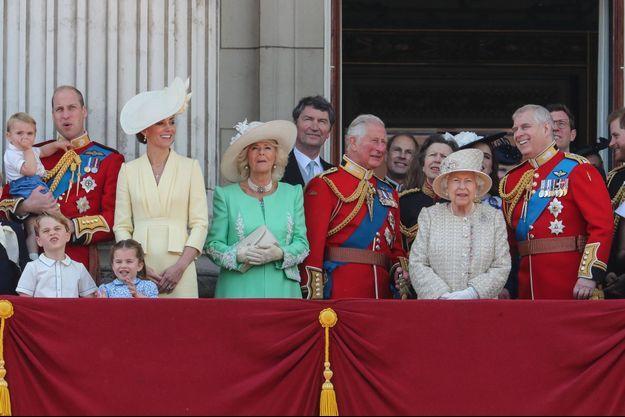 Une partie de la famille royale qui était rassemblée autour de la reine Elizabeth II pour la dernière cérémonie «Trooping the Colour», le 8 juin 2019 John Rainford/Cover Images/SIPA