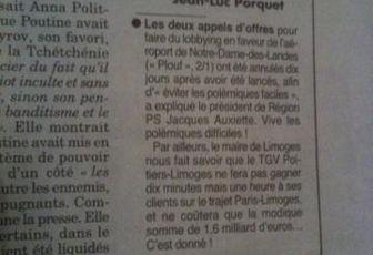 """LGV Poitiers-Limoges : La bataille des chiffres fait rage dans le """"Canard enchaîné"""""""