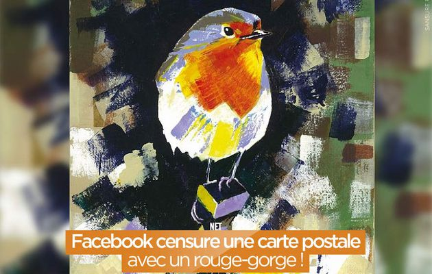 Facebook censure une carte postale avec un rouge-gorge ! #censure