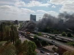 L'autoroute A1 fermée au niveau de la porte de la Chapelle suite à un incendie dans un camp rom