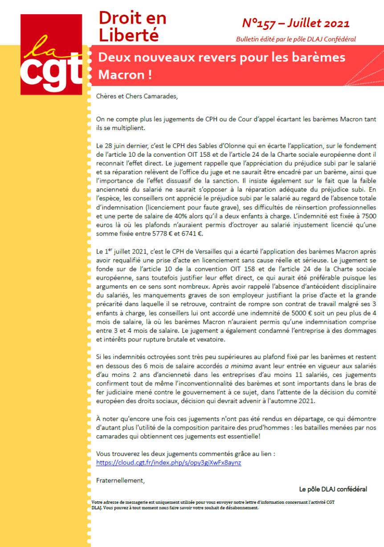 DROIT EN LIBERTE N°157 - Deux nouveaux revers pour les barèmes Macron