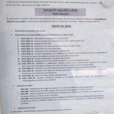 Conseil municipal du 27mars