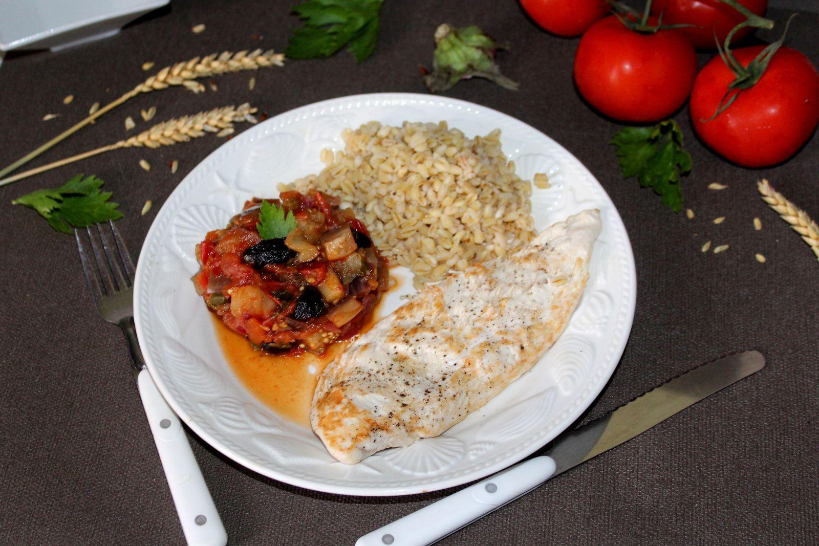 Poulet à la sicilienne et caponata (+idée menu à 6 SP)