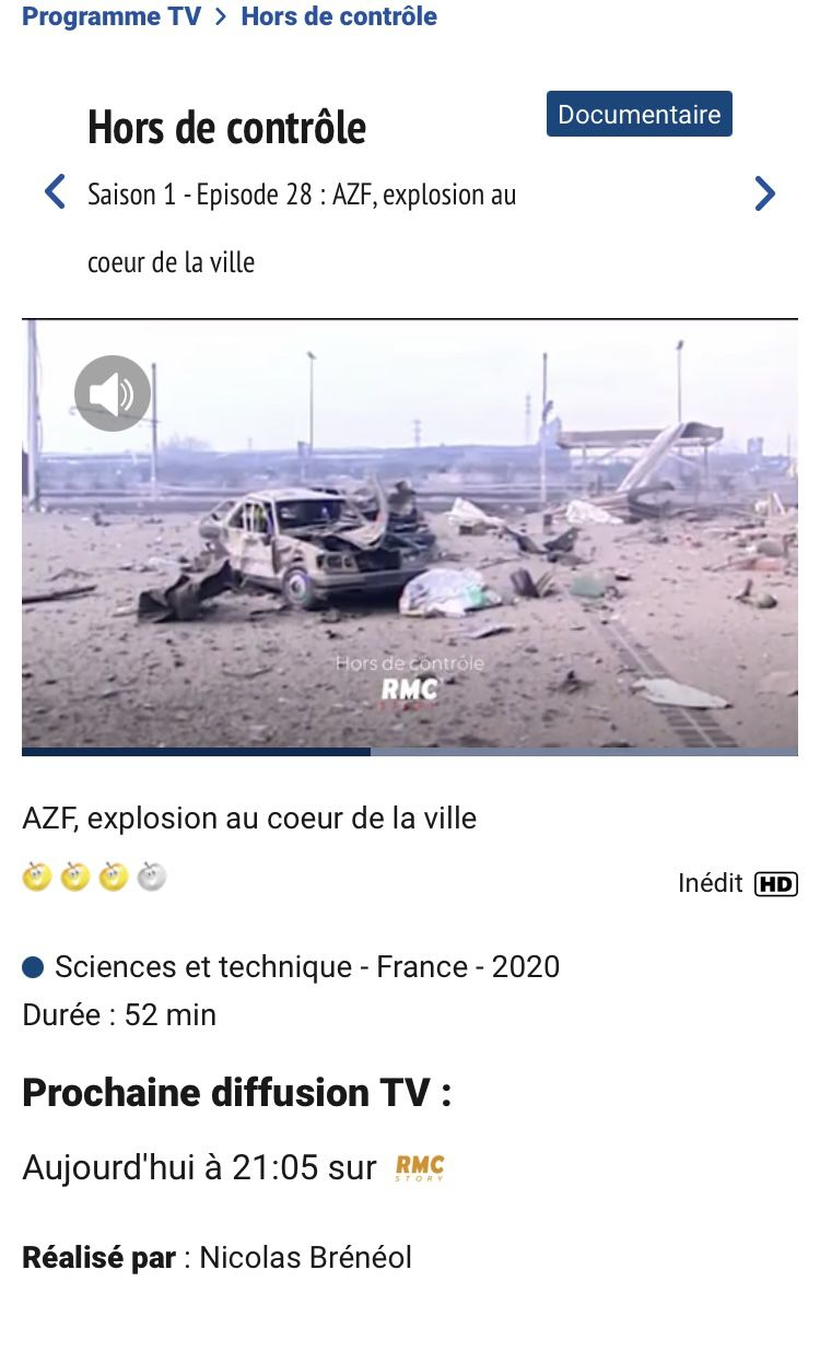 Documentaire AZF canal 23 RMC