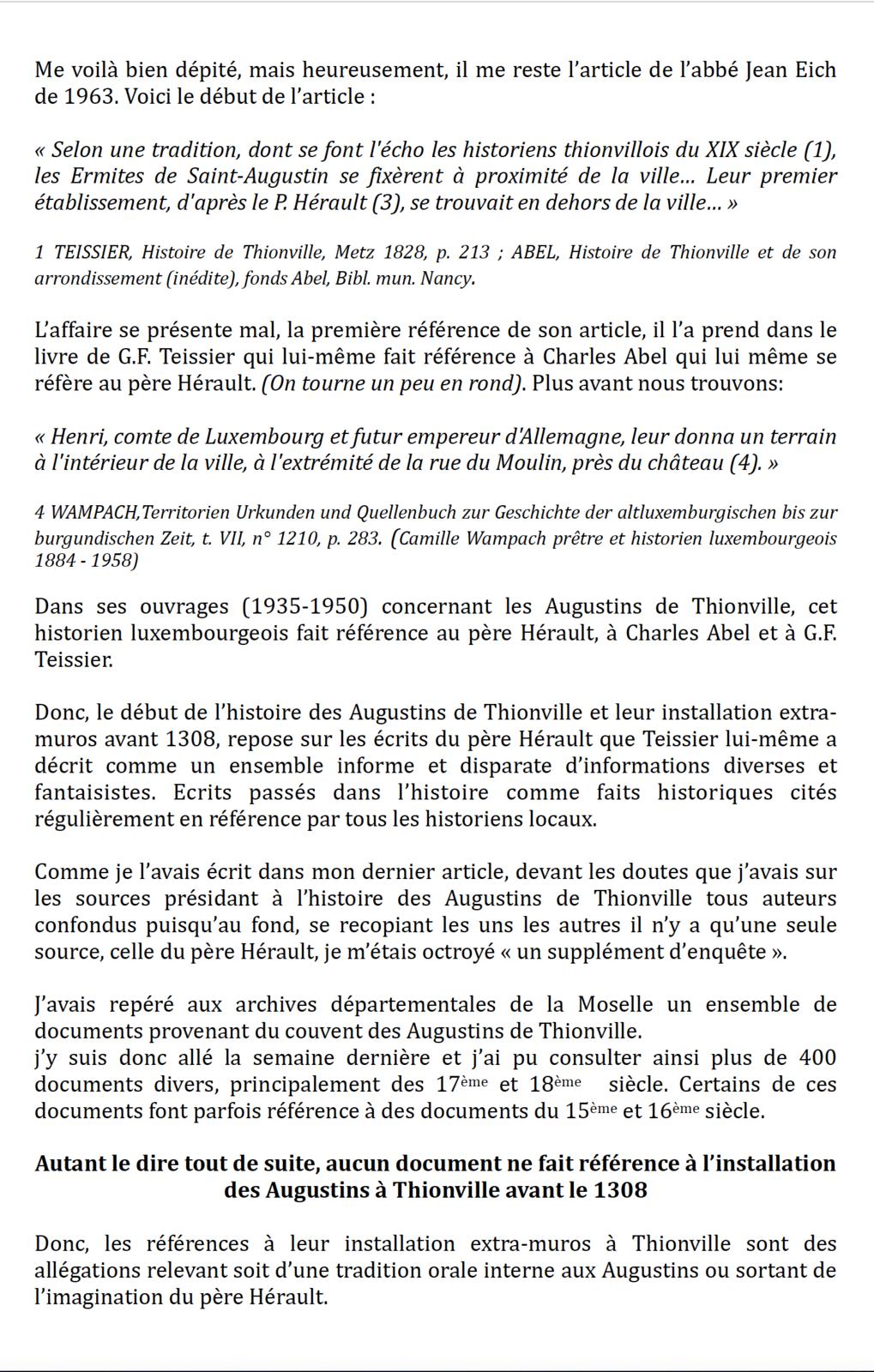 Les Augustins à Thionville avant 1308 (1ère partie)