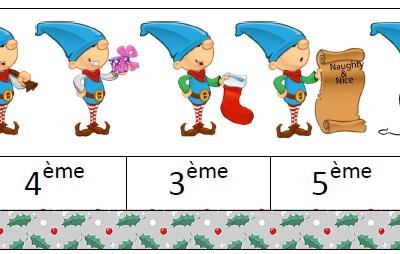 Aspect ordinal du nombre avec des lutins de Noël