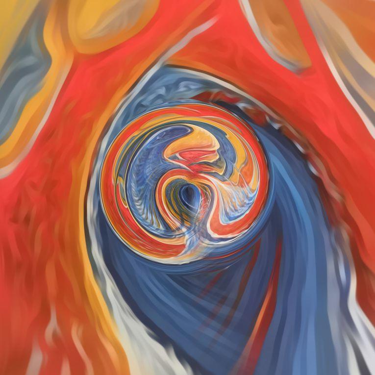 Up-Cycling d'une toile. Echo et Narcisse  2X2m Peinture à l'huile - Photographie numérisée.  TO © 2021