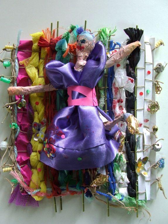 Activités Arts& Co/Cap Culture Tissages de matériaux de récupérations, laisse de mer..
