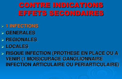 Contre indication infiltration cortisone