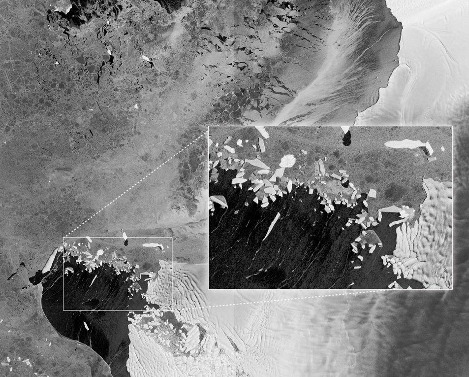 Publiées le 16 avril par l'Agence Spatiale Européenne. Bruxelles, Anvers, inondations en Namibie, chutes Victoria, glacier Pine Island et Thwaites, péninsule antarctique : un avant-goût des performance du premier satellite du programme Copernicus