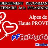 LES GITES AGREES par la FFRANDONNEE 04 en Alpes de Haute Provence