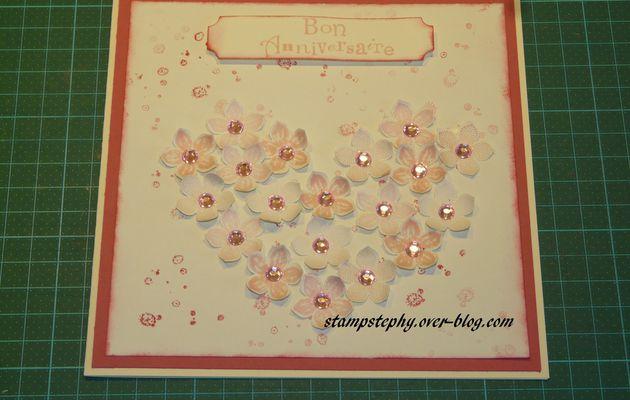 carte anniversaire fleurs et cœur