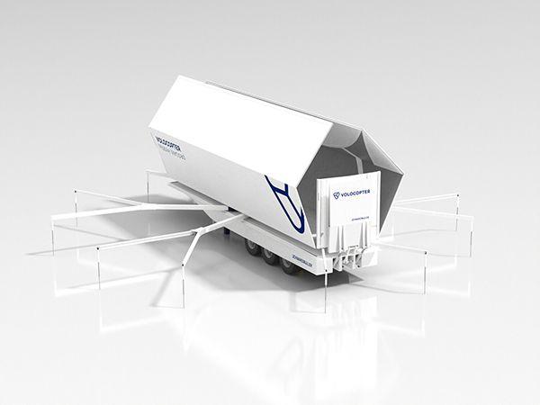 Volocopter and Schwarzmueller partner to develop a Mobile Vertipad. Volocopter Mobile Vertipad opening.
