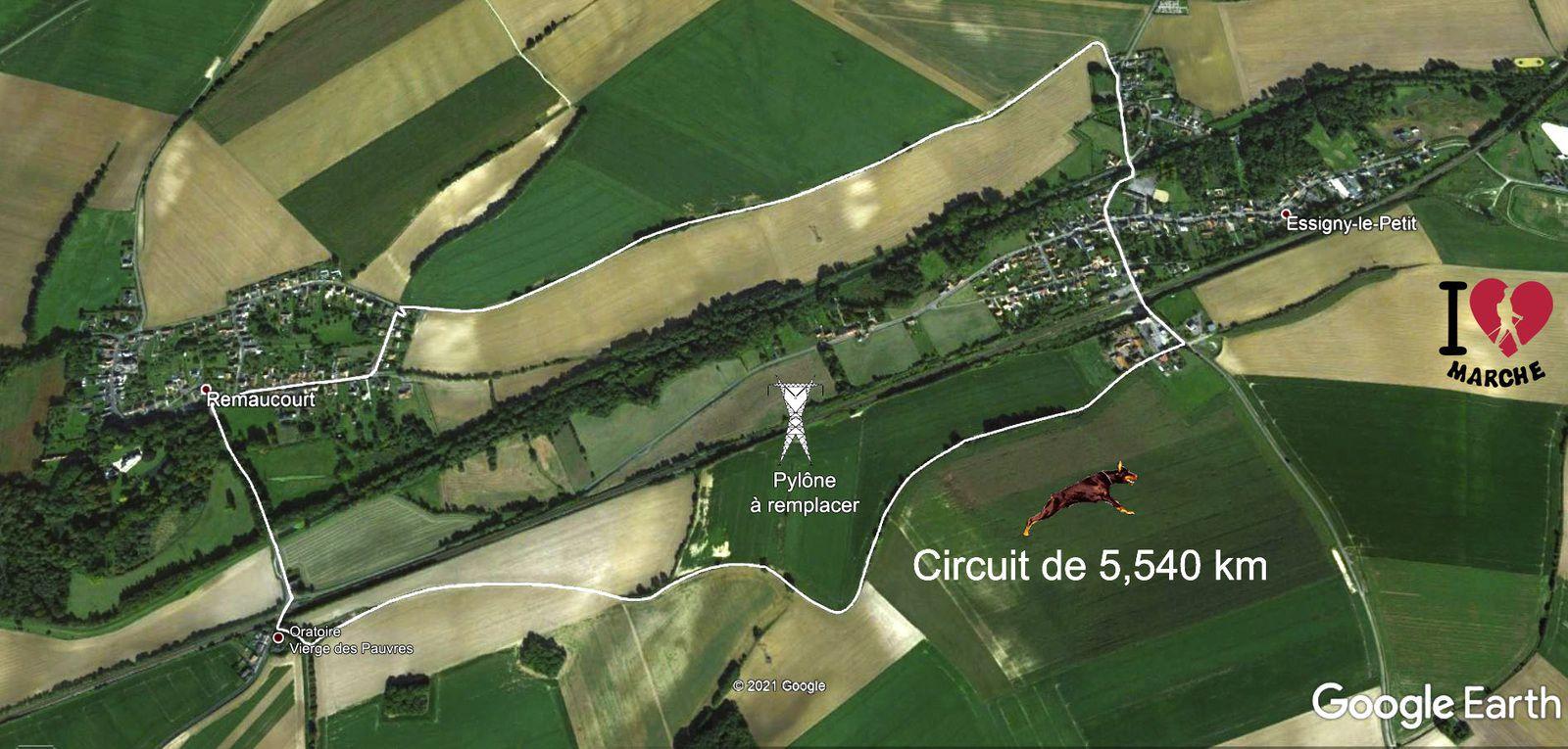 Plan avec les délimitations territoiriales des deux communes, la ligne haute tension RTE et le parcours pédestre apprécié par de nombreux randonneurs.