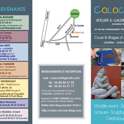 Pour préparer la rentrée Coloc'art, les ateliers prévus pour la saison 2021 - 2022