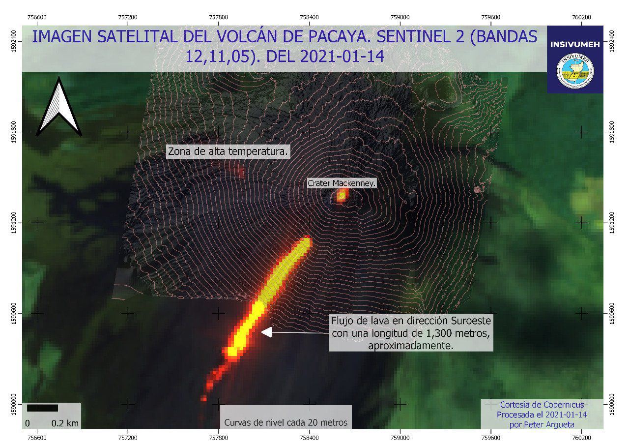 Pacaya - Sentinel-2 bands image 12,11,5 from 01/14/2021 - incandescence at the summit and lava flow - high temperature zone west of the summit - Doc. Insivumeh
