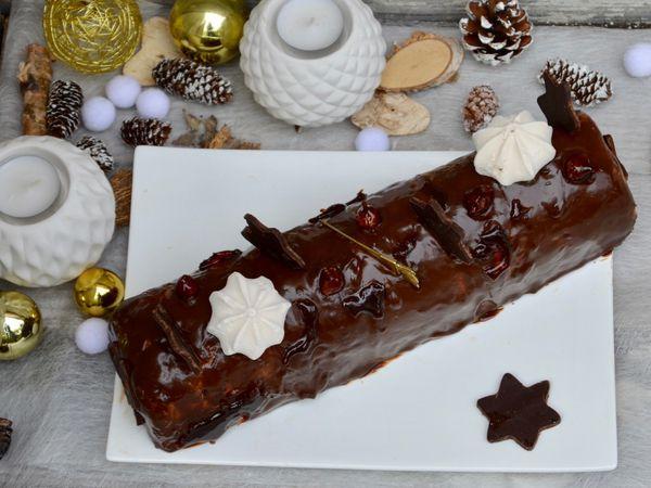 Bûche chocolat - noisettes