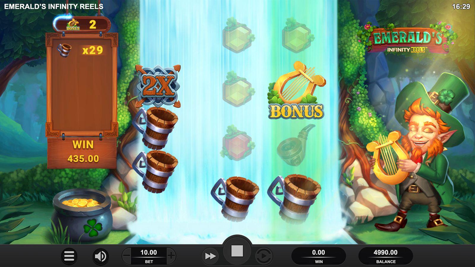machine a sous en ligne Emerald's Infinity Reels grille de jeu