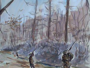 Les chasseurs en ligne Domaine de la Grillère (Château de la Logère) Gouache sur papier 50x65 Bhavsar. Je suis en train de peindre rapidement à la gouache.
