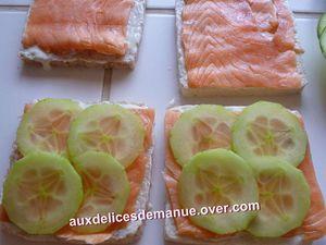 sandwich-cake saumon fumé et crudités, crème citronnée et chantilly au concombre