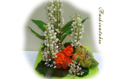 centre de table muguet rose tulipe(tube misted)