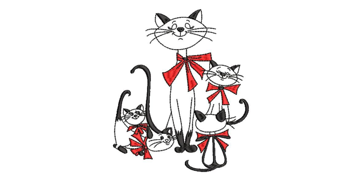 BRODERIE FAMILLE CHATS
