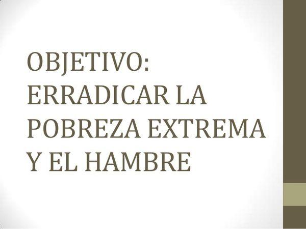 IMAGEN DONDE SE MUESTRA POR ESCRITO LAS PALABRAS: ERRADICAR LA POBRESA EXTREMA Y EL HAMBRE.